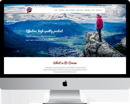 website design p3cream pain relief cream